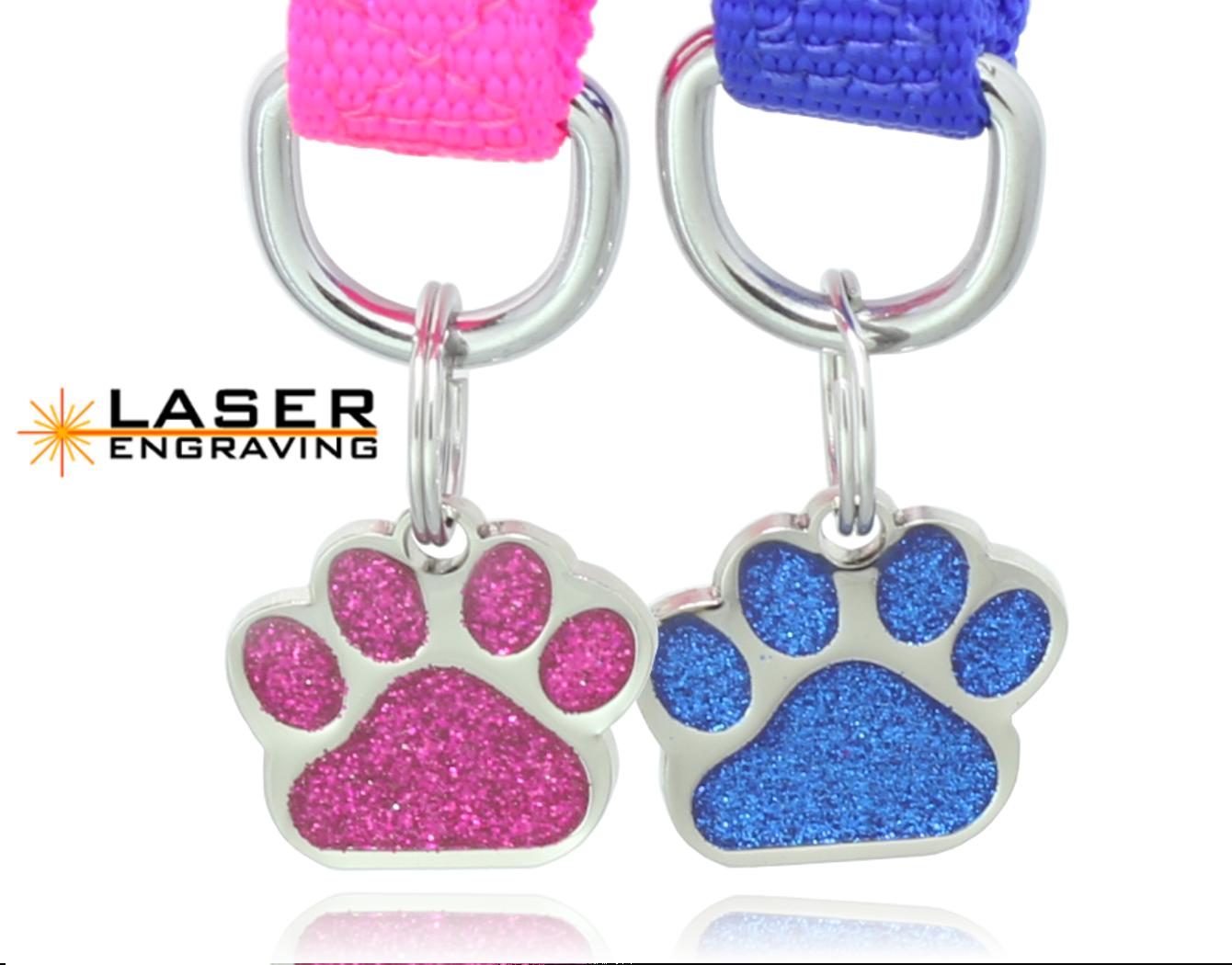 Glitter Paw Print Pet ID Tags Custom Engraved Dog Cat Tag Pe