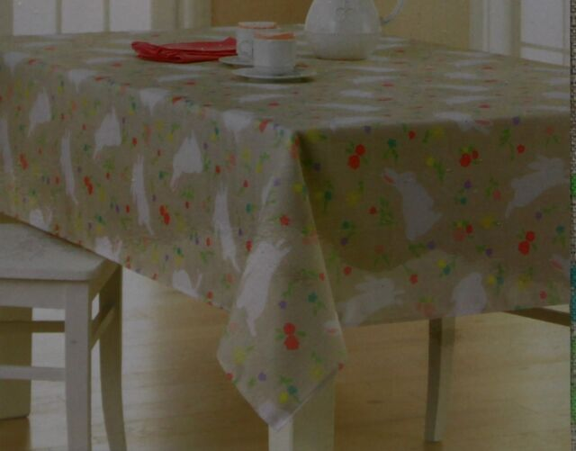 Exceptional Celebrate Easter Spring Tan Bunny Floral 60X120 Oblong Tablecloth NWT