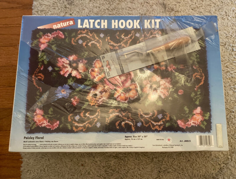 """30"""" X 50"""" PAISLEY FLORAL LATCH HOOK RUG KIT WITH HOOK With Hook Factory Sealed"""