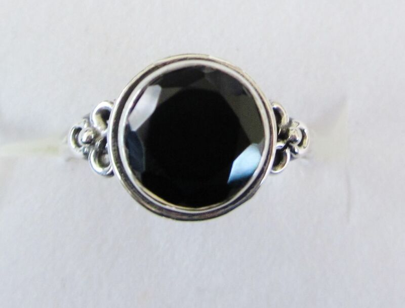 Black Spinel Ring in Sterling Silver, sz 9