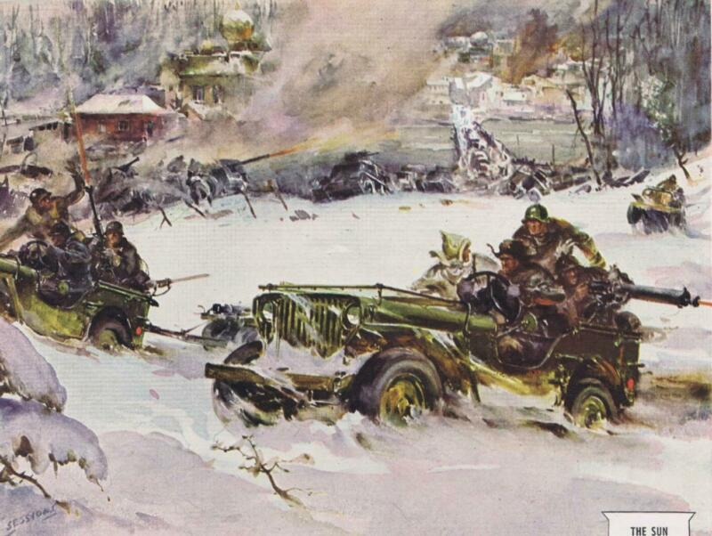 1948 WILLYS JEEP WWII Russian Battle Scene Sessions artwork Print Ad