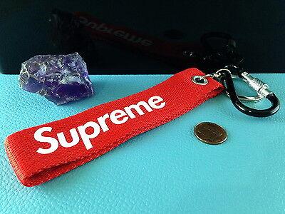(1 Strap Keychain SUPREME Logo KEYRING Carabiner Key Fob Wrist Pants Backpack Bag)