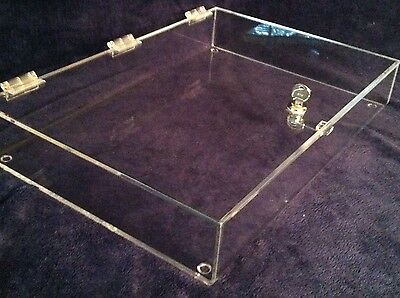 Locking Acrylic Counter Top Display Tray 12 X 8 X 4 Security Showcase