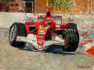 ANDRE DLUHOS ORIGINAL OIL PAINTING Ferrari Formula 1 Race Car F1 M SCHUMACHER - $1,120.00