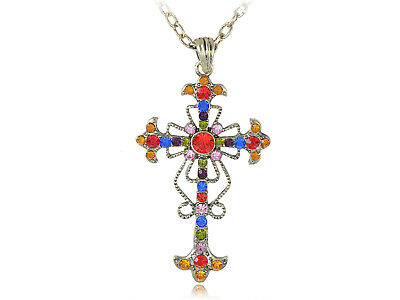 Celtic Jewel - Vintage Tone Color Jewel Crystal Rhinestone Celtic Bible Cross Pendant Necklace