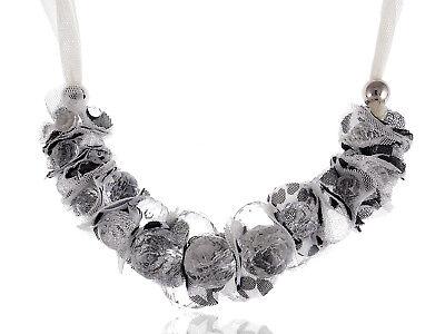 Ivory Cream Black Net Mesh Chiffon Crystal Ball Bead Polka Dot Ribbon Necklace