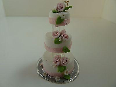Dolls House Miniature 1.12 Scale Kitchen Shop Wedding Handmade Cake