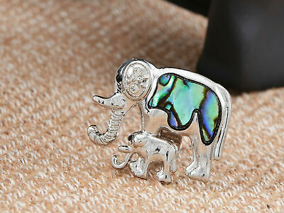 Silver Tone Mommy n Baby African Elephant Natural Abalone Shell Adj Fashion Ring ()