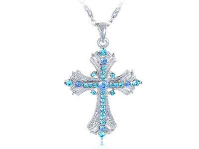 Crystal Rhinestone Cross Pendant Necklace (Aquamarine Seawater Blue Sapphire Crystal Rhinestone Holy Cross Necklace)