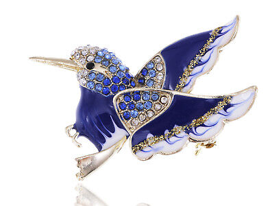 Silver Rhinestone Accented Golden Enamel Painted Winged Eagle Bird Pin Brooch