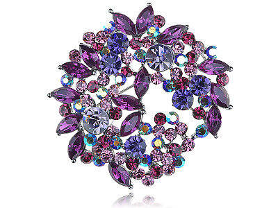 Beautiful Fuchsia Violet Purple Crystal Rhinestone Wreath Floral Leaf Pin Brooch