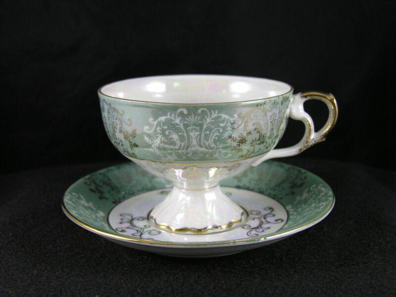 vtg NAPCOWARE green & white luster pedestal teacup & saucer w label C-6912