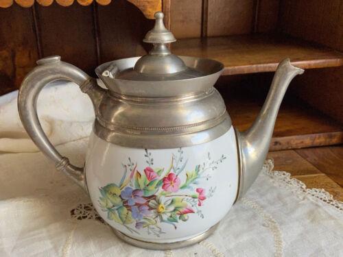 1890s Pewter-Trimmed Graniteware Teapot - Enamel Ware Teakettle