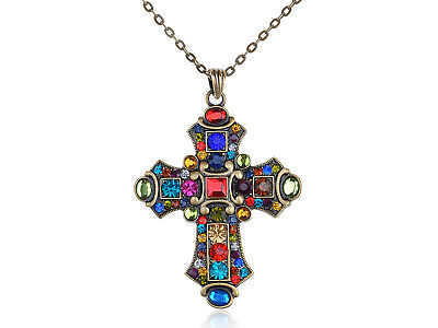 Crystal Rhinestone Cross Pendant Necklace (Old Medieval Vintage Inspired Colorful Crystal Rhinestone Cross Pendant)