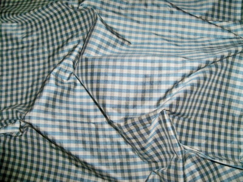 TAPESTRIA FRENCH COUNTRY GINGHAM CHECK SILK FABRIC 10 YARDS CHAMBRAY BLUE GRAY