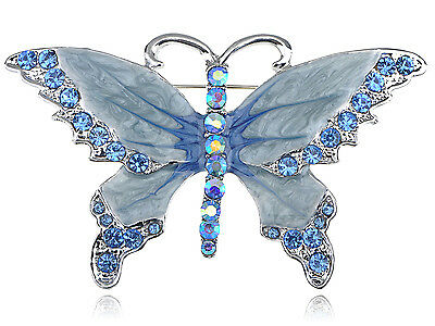 Silver Tone Sapphire Blue Colored Rhinestones Pearlescent Butterfly Brooch Pin