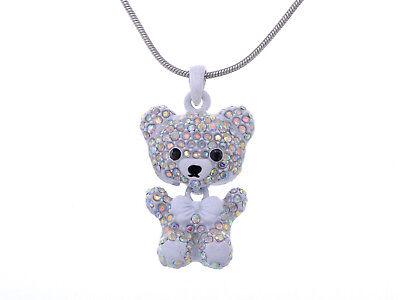 White Enamel Bow Crystal Rhinestone Teddy Bear Boy Girl Pendant Necklace