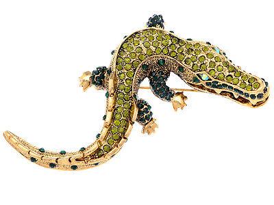 Gold Aussie Hunter Alligator Crocodile Reptile Hungry Costume Brooch Pin Jewelry](Crocodile Hunter Costume)