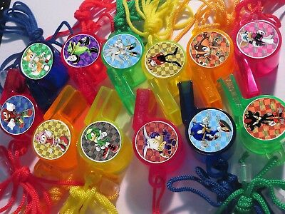 12 SONIC hedgehog Whistle Necklace birthday party favor, pinata, goody bag,