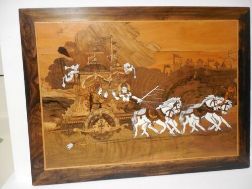 """VINTAGE INDIAN WOODEN PLAQUE WITH BONE INLAID MARQUETRY 24"""" X 18"""""""