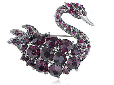 Purple Crystal Rhinestone Austrian Swan Bird Fashion Jewelry Custom Pin Brooch