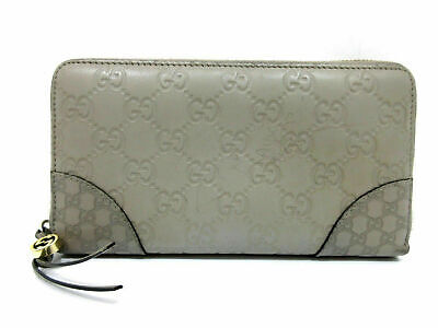 Authentic Gucci Guccissima Zip Around Long Wallet 323397 Gray 63165