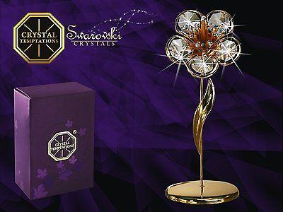 4517+ 4528 Gold Blume Flower Swarovski Steine Kristall 24 Karat Crystal 12, 5cm