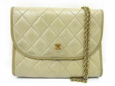 Authentic CHANEL Matelasse Chain Shoulder Bag Pouch Lamb Leather Beige 61777B