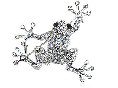 Silver Tone jewelry Clear Crystal Rhinestone Tiny Frog Toad Pin Brooch