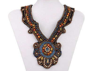 Womens Tribal and Ethnic Inspired Chunky Beaded Design Fashion Bib Necklace
