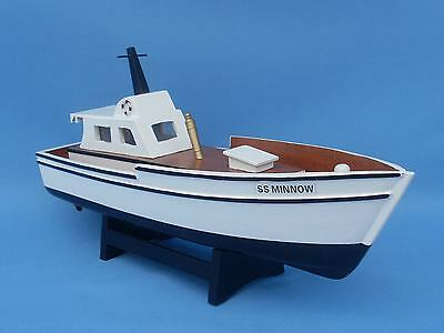 "GILLIGAN'S ISLAND SS MINNOW 14"" Handcrafted Wooden Model Fishing Boat Famous NEW"