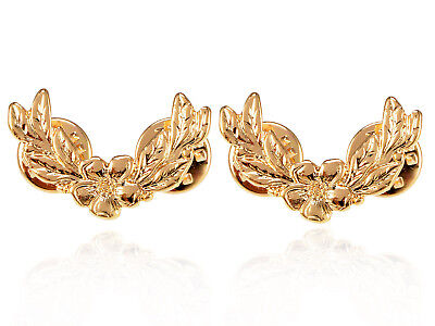 Golden Metal Tone Vintage Inspired Flower with Leaves Twin Fashion Brooch