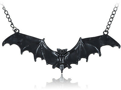 Frightening Halloween Black Enamel Paint Flying Bat Metal Chain Necklace Pendant - Halloween Bat