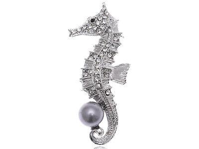 Clear Crystal Rhinestone Grey Faux Pearl Beaded Ocean Seahorse Cute Pin (Crystal Simulated Pearl Brooch)