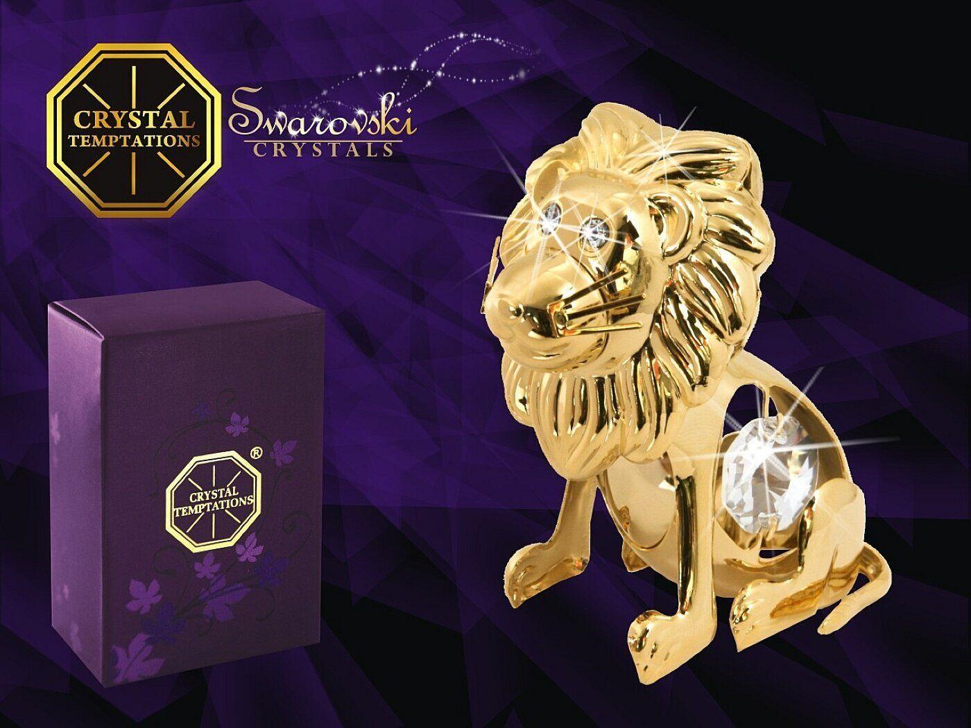 G 4756 Gold junger Löwe Lion Baby Swarovski Steine Kristall 24 Karat Crystal 6cm