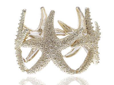 - Fashion Gold Tone Textured Bead Nautical Sea Star Fish Wrap Bangle Bracelet New