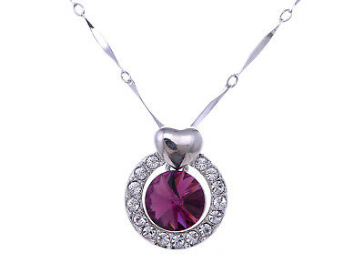 Ali-Market Crystal Element Purple Round Stone Heart Accent Pendant New Necklace - Element Jewelry Purple Pendant