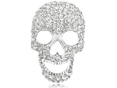 Silver Tone Clear Crystal Colored Rhinestones Big Skull Head Face Brooch Pin
