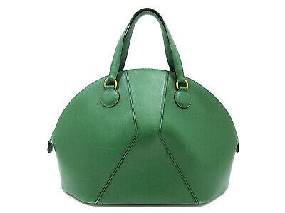 Authentic HERMES Ile De Boo Hand Bag Circle X Leather Green Rare 91645