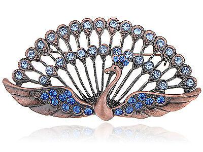 Bright Blue Crystal Rhines Jewel Beaded Peacock Pin Custom Jewelry Brooch