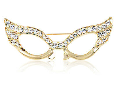 Gold Tone Clear Crystal Colored Rhinestones Cat Eye Glasses Mask Brooch Pin