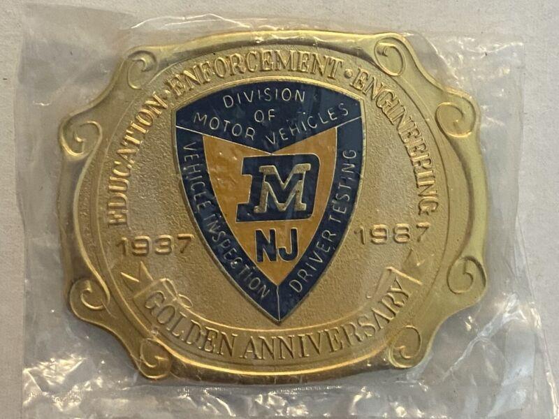 VINTAGE NEW JERSEY DIVISION OF MOTOR VEHICLES DMV GOLDEN ANNIVERSARY BELT BUCKLE