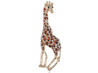 Gold Tone Clear Crystal Colored Rhinestones Brown Giraffe Spotted Brooch Pin