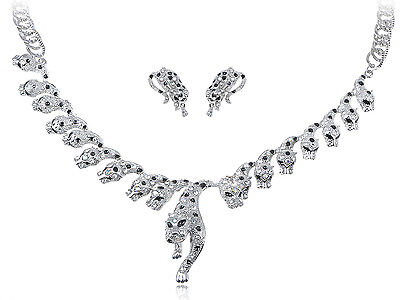 - Gunmetal Silver Tone Spotted Cat Leopard Crystal Rhinestone Earring Necklace Set
