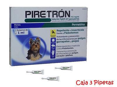 3 Pipetas LEISHMANIOSIS para Perros < 15Kg anti Pulgas, Garrapatas PIRETRON 1 ml
