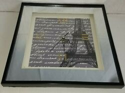 Eiffel Tower Paris Mirror Wall Clock 12 x 12 x 1 1/2 Needs New Quartz Box