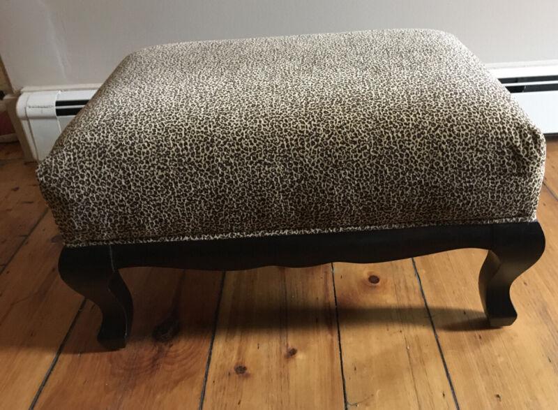 Magnificent Ottoman Leopard Print Ornate Legs 20 X 27 X 16 Arhaus Furniture Usa