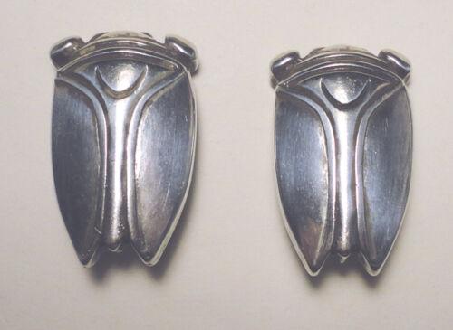 ART DECO Sterling 925 MODERNIST CICADA EARRINGS Egyptian Revival ELECTROFORM