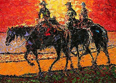 ANDRE DLUHOS Equine horse equestrian trail riders limited edition Art PRINT
