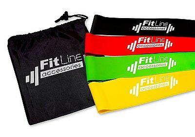 Resistance Bands Loop Set Of 4 Exercise Workout CrossFit Fitness Yoga-Carry Case